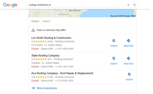 Google my business for roofing