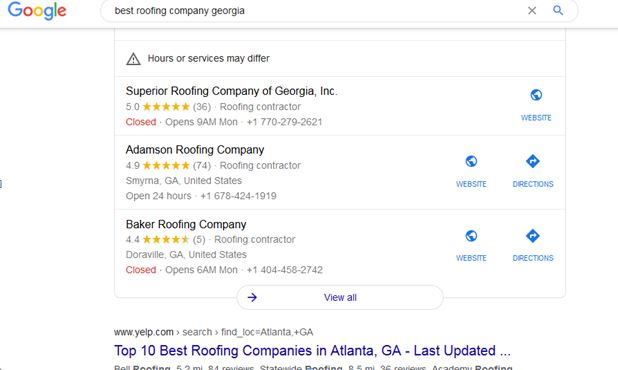 listing for roofers